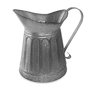 Colonial Tin Works 530042 CTW Metal Milk Pitcher Rustic Farmhouse Decor, Galvanized Steel, 12-inch Height, one Size, Silver
